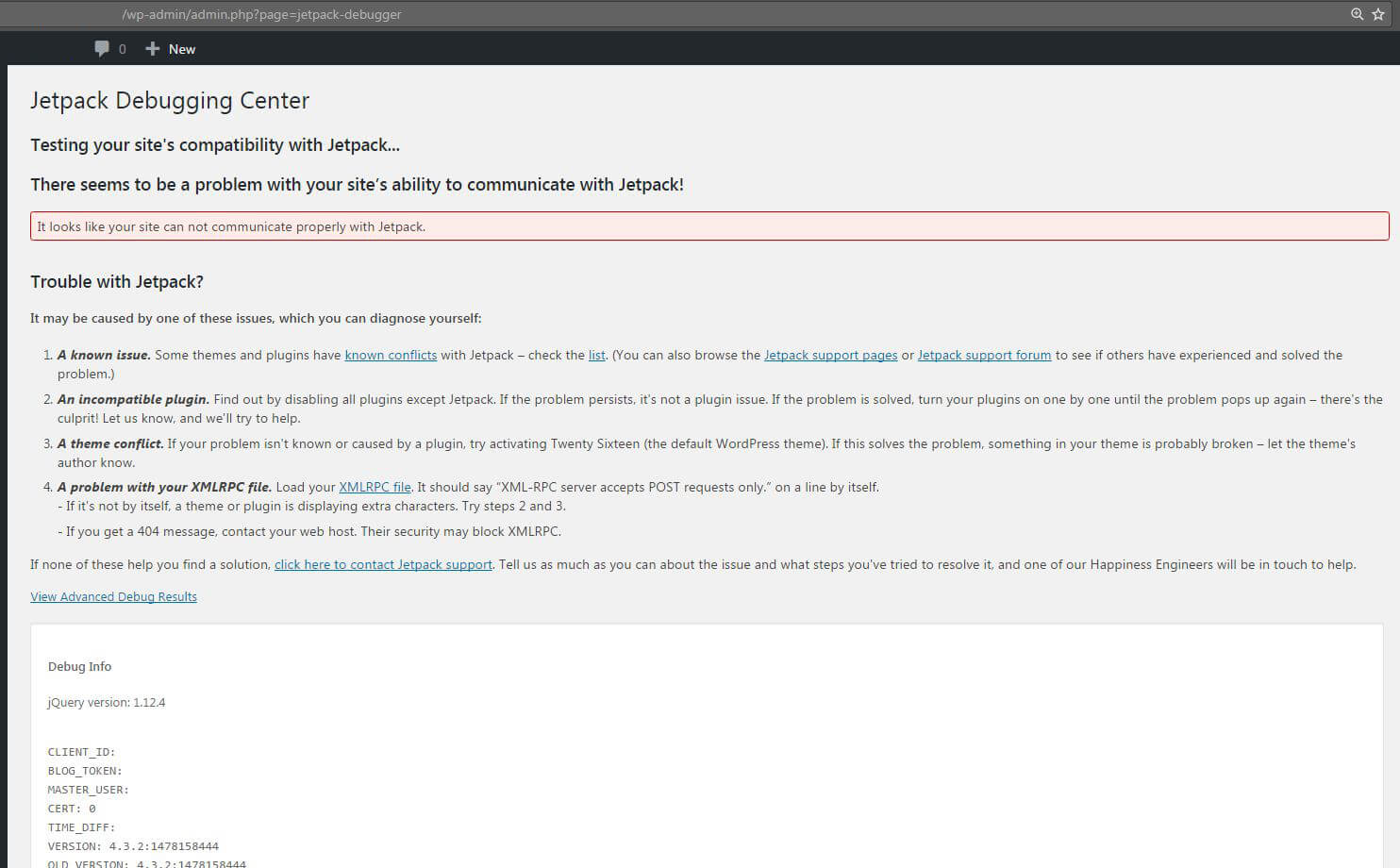 SOLVED] - Jetpack server was unable to communicate - cURL error 28: